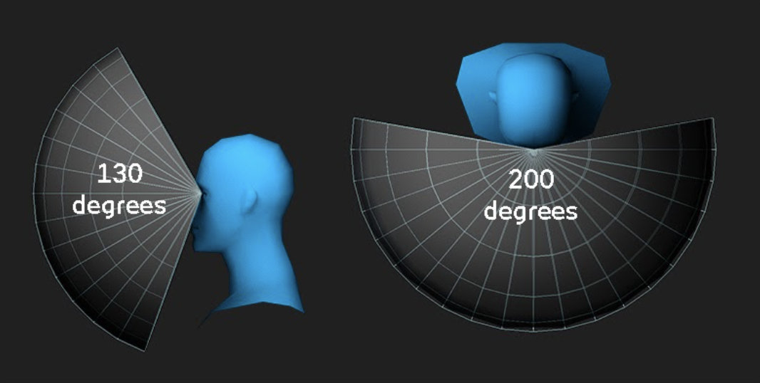 Example vertical and horizonal FOV