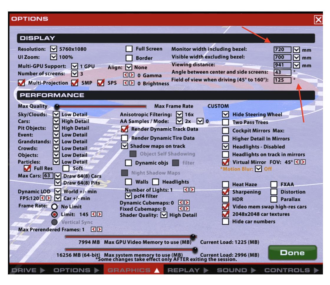 iRacing Graphics Options page