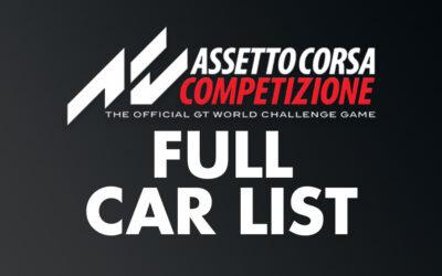 Assetto Corsa Competizione Full Car List | Updated Feb 2021